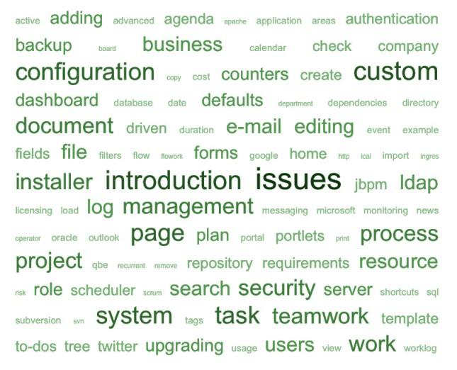 Tag cloud of Teamwork 4 user guide